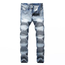 dsel jeans NZ - White Washed Italian Designer Men Jeans High Quality Dsel Brand Straight Fit Distressed Ripped Jeans For Men,100% Cotton