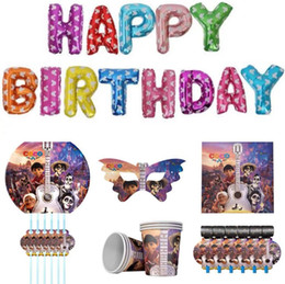 Balloons Design Cartoons Australia - For 12 children's birthday party products Coco cartoon design disposable straw, tableware, happy birthday balloons