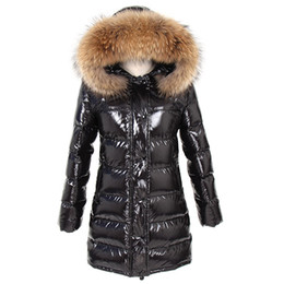 $enCountryForm.capitalKeyWord UK - Long style Maomaokong brand shiny black women down jackets Cold resistant 90% down fill coats with brown raccoon fur trim