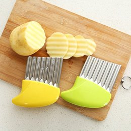 Plastic Chips Cutters Australia - French Fries Cutter Stainless Steel Potato Chips Making Peeler Cut Plastic Handle Vegetable Kitchen Knives Fruit Tool