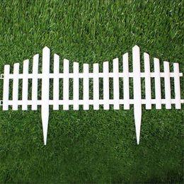 $enCountryForm.capitalKeyWord Australia - 5pcs Plastic Garden Fence Easy Assemble White European Style Insert Ground Type Plastic Fences For Garden Countryyard Decor
