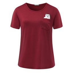 Womens Pocket Tees Australia - Fashion T shirts for women t-shirt women Short Sleeve Crew Neck graphic tees Casual Womens tee Solid color tops Cat loading pocket
