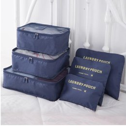 Cube storage bags online shopping - 6Pcs Travel Storage Bag Totes Waterproof Clothes Packing Cube Luggage Organizer Set Print Container Zipper Travel make up box