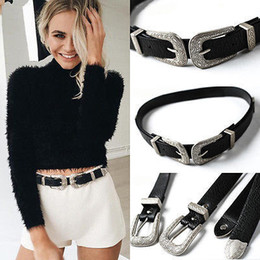 beaded buckles NZ - 2018 Hot Fashion Lady Vintage Boho Metal Leather Double Buckle Waist Belt Waistband high quality Belts for Women female C19010301