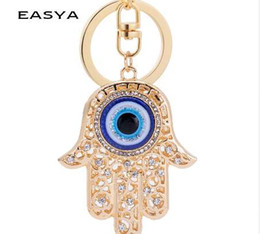 Rings Hand Girl Boy Australia - EASYA Hand Evil Eye Lucky Charm Amulet Hamsa Keychains Bag Pendant R Keychains Key Ring Key Holder For Women Girls