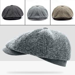 d025c93a517 Discount newsboy golf hats - New Fashion Berets Cap Unisex Men Solid Color  Wool Felt Gatsby