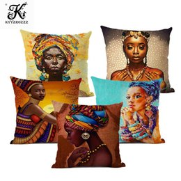 oil painting african art UK - Fashion African Girl Lady Oil Painting Black Women Home Art Decoration Sofa Throw Pillow Case Cotton Linen Cushion Cover 45x45cm