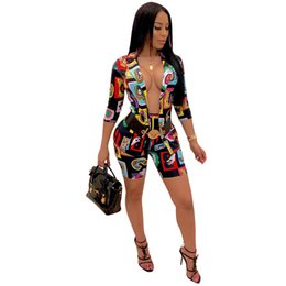 Girls sexy suit online shopping - Women Two Pieces Outfit Casual Letter Paisley Print Open Stitched Sleeve Blazer Coat Shorts Sexy Jacket Suit Designer Tracksuit C61704
