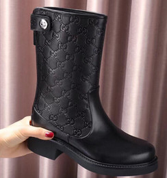 86837c581 Branded Women Bee Print Leather Half Boots Designer Lady Buckle Slip-on  Back Zipper Rubber Outsole Boots