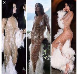 $enCountryForm.capitalKeyWord Australia - See Through AB Pearls Stones Dress White Feather Prom Outfit Bar Women's Birthday Celebrate Dress Dancer Long Dresses DS DJ Dress