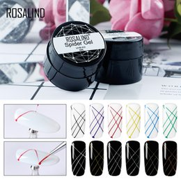 black white line painting 2019 - ROSALIND Spider Gel Painting Nail Art Polish Set Hybrid Varnish Point To Line Drawing And Decoration Pulling Silk Gel La