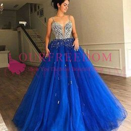 shining beads evening dress 2019 - 2019 Royal Blue Spaghetti Quinceanera Dresses Shining Beaded Crystal A Line Sweet 16 18 Formal Occasion Evening Occasion