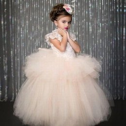 $enCountryForm.capitalKeyWord Australia - Pink Ball Gown Lace Tulle First Communion Flower Girl Dresses Kids Wedding Party Bridesmaid Children Prom Dress Formal Dress GHYTZ341