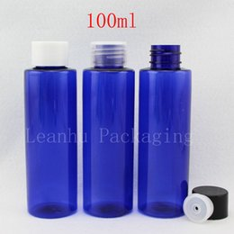 $enCountryForm.capitalKeyWord Australia - 100ml X 50 blue empty cosmetic container , shampoo plastic bottle with screw lid, PET Colored Container for toner , oil, lotion