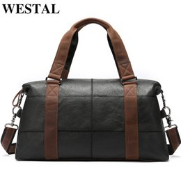 $enCountryForm.capitalKeyWord NZ - WESTAL Men Travel Bags Genuine Leather Foldable Carry on Bags Weekend Bag Men Duffel Bag for Hand Luggage Large Totes 9527