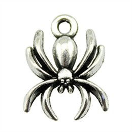 $enCountryForm.capitalKeyWord UK - 150pcs Antique Silver Plated Spider Charms For Jewelry Making Spider Pendant Charms Spider Charms 15mm