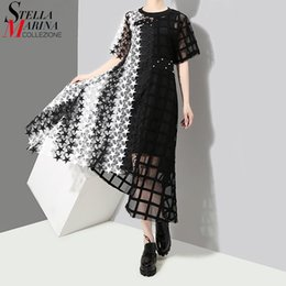 Short Lace Dress Long Sleeves Australia - New 2019 Women Summer Black Long Lace Dress Short Sleeve Hollow Out Night Party Sexy Club Asymmetrical Dresses Robe Femme 3517 Q1904011