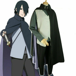Wholesale sasuke s cosplay resale online - Cosplay Anime N aruto Boruto Uchiha Sasuke Halloween Costume Uniform Suit Set