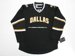 dallas black jersey UK - Cheap custom DALLAS STARS VINTAGE BLACK PREMIER 7185 HOCKEY JERSEY stitch add any number any name Mens Hockey Jersey GOALIE CUT 5XL