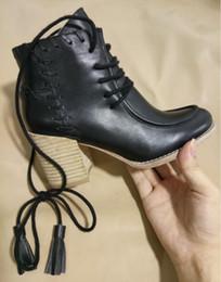 Black Blocks Australia - 2017 New Arrival Autumn Winter black leather Ankle Boots Women Fashion Brand tassel Ankle Boots Bootie Block chunky Heels size 35-40