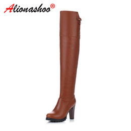 $enCountryForm.capitalKeyWord Australia - Winter Women Over Knee Boots Square High Heels Patchwork Club PU Leather Round Toe Zipper Riding Long Thigh High Lady Boots 43