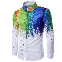 $enCountryForm.capitalKeyWord Australia - Men Shirt 2019 Male Urban Fashion Shirt Ink Splash Paint Color Self-cultivation Leisure Long Sleeves Shirts Large Size