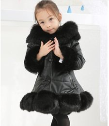 children fur parka 2019 - 2019 Girls Winter Faux Fur parkas High quality pu Girls Coats Kids Warm Jacket Children Xmas Outerwear infantil Jacket c