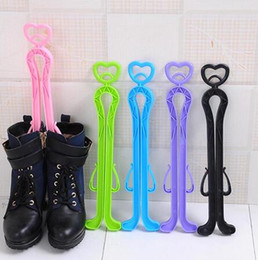 Discount boot stands - Folding Boot Shaper Plastic Long High boot shoe keeper Candy color Boots Holder Rack Stand Creative shoes Organizer Stor