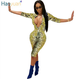 sexy one sleeve rompers Canada - Haoyuan Snake Print Playsuit Sexy Costumes Casual Overalls One Piece Bodycon Shorts Rompers Womens Jumpsuit Snakeskin Bodysuit Y19071801