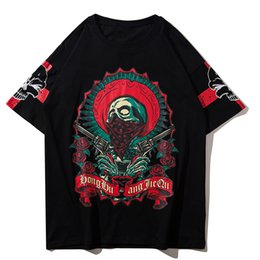 print style mens t shirts 2019 - Mens Designer T Shirts Aelfric Eden 3D Cartoon Skulls Printed Punk Style Summer Casual Short Sleeve Rock Loose Large Big