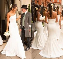 $enCountryForm.capitalKeyWord Australia - Ivory Satin Mermaid Bridesmaid Dresses 2019 Strapless Backless African Bridesmaid Gowns Wedding Party Dresses Sweep Train