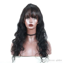 Discount chinese bang body wave hair - Full Lace Wigs With Bangs Body Wave Pre Plucked Hairline Virgin Brazilian Lace Front Human Hair Wig With Bangs For Black