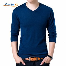 black polo neck sweater UK - Covrlge Mens Sweaters 2019 Autumn Winter New Sweater Men V Neck Solid Slim Fit Men Pullovers Fashion Male Polo Sweater MZM004MX190902
