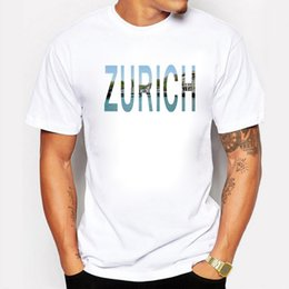 white city shorts NZ - Men's Fashion Cool Tee 2017 T Shirt Short Sleeve Plus Size Zurich City Design Printed Homme Fitness Summer Style T-shirt