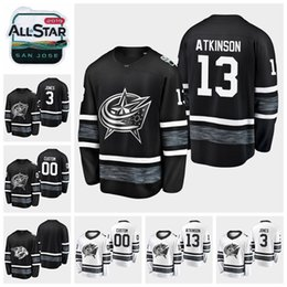 Wholesale 2019 All Star Game Cam Atkinson Customize Columbus Blue Jackets Hockey Jerseys Black White Jersey Seth Jones Stitched Shirts