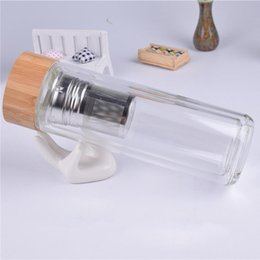 450ml Bamboo Lid Double Walled Glass Tea Tumbler With Strainer And Infuser Basket New Arrival Water Bottles