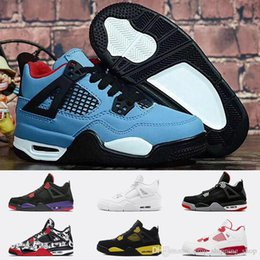 youth boys basketball shoes Australia - Top Travis scott X Jumpman Kids 4 4s basketball shoes raptors bred tattoo 3s tinker black cement Big Kids Youth Boys basketball sneakers