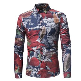 men s khaki shirts 2019 - Fashion Spring Casual Men Shirt Slim Fit Flower Print Linen Shirt Long-sleeved Shirts Male Floral Social Masculina M-XXX