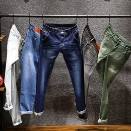 white jeans branded NZ - 6 Colors 2019 New Men's Skinny White Jeans Fashion Elastic Slim Pants Jean Male Brand Trousers Black Blue Green Gray