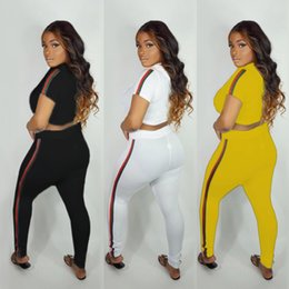 Cycling Short White Black Australia - Summer Women Designer Tracksuit Brand Two Piece Outfits Ribbon Short Sleeve Crop Hoodie Long Pant Set Pantsuit White Black Yellow