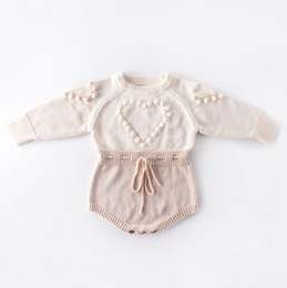 Wholesale pompom clothing resale online - Baby Knitted Clothes Heart Baby Girl Romper Pompom Infant Girls Sweater Designer Newborn Jumpsuit Autumn Winter Baby Clothing DW4652