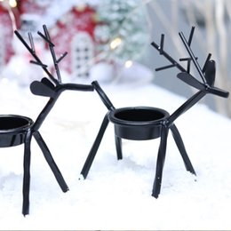 Black metal candle holders online shopping - Metal Candlestick Christmas Candle Holders Creative European Iron Art Deer Candlestick Christmas Decorations And Gifts EEA746