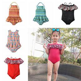 8fe7914a14 Children Striped Floral Print Swimwear Summer Baby Beach Ruffle Off  shoulder Bathing Suit Bikini Kids One Pieces Swimsuit TTA693