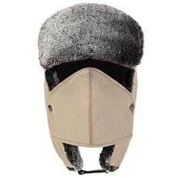 Hombres Mujeres las gorras Máscara Set orejeras espesado caliente del casquillo del algodón de invierno para ciclo al aire libre a prueba de viento sombrero de la caza Máscaras en venta