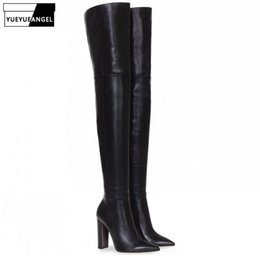 Black Blocks Australia - Woman Black Pointed Toe Block Heel Over the Knee Boots Plus Size 46 Autumn Winter Elegant High Heel Nude Color Zip High Boots