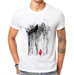 0dba0c83998584 100% Cotton Summer Ink Wolf Design Men T Shirts Fashion Animal Design Man  Short Sleeve Tops Tees Clothes Xxxxl