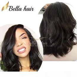brown wavy medium length wigs Australia - 100% Virgin Remy Human Hair Charming Mid-Length BOB Loose Wavy Cheap Lace Front Human Hair Wigs Natural Hairline Full Lace Wigs Bella Hair