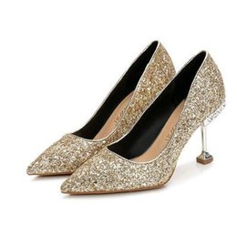 $enCountryForm.capitalKeyWord NZ - 2019 New fashion sexy women dress shoes high heels Cinderella Glass slipper pumps red silver Wedding shoes party shoes
