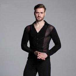 Venta al por mayor de Alta calidad de malla hombres negros salón de baile latino tops venta Cha Cha Rumba tallas grandes mangas largas camisa de baile DWY1106