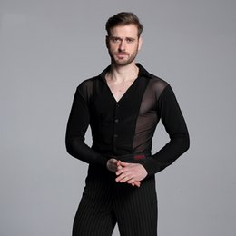 Malha de alta Qualidade Homens Negros Standard Ballroom Dança Latina Tops Venda Cha Cha Rumba Plus Size Mangas Compridas Camisa de Dança DWY1106 venda por atacado